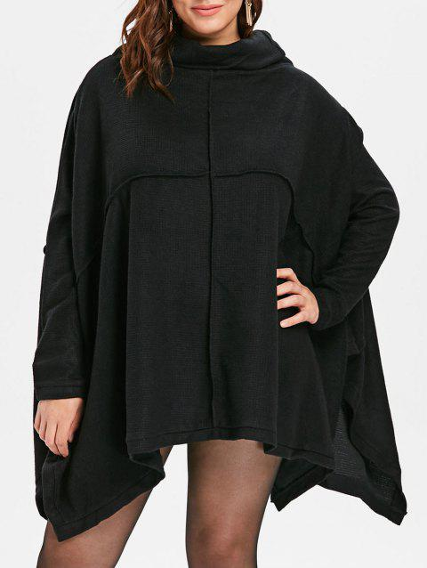 Plus Size Cowl Neck Knee Length Dress - BLACK ONE SIZE