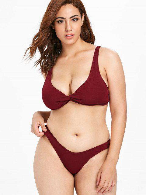 dad2aeb3b2e7f LIMITED OFFER  2019 Twist Front Textured Plus Size Bikini Set In RED ...