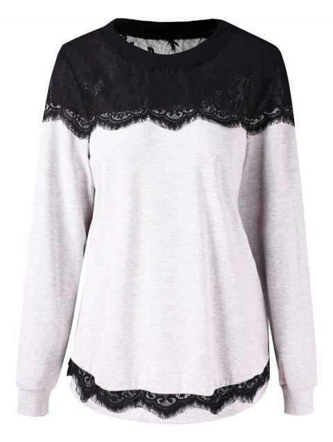 Plus Size Eyelash Lace Sweatshirt - PLATINUM L