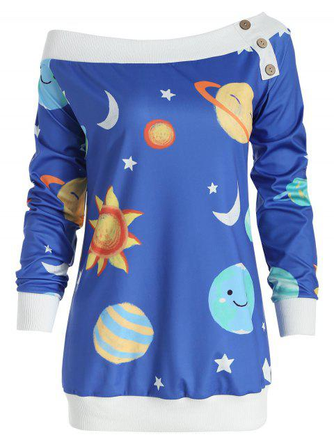 Sun and Moon Print Sweatshirt - OCEAN BLUE 2XL