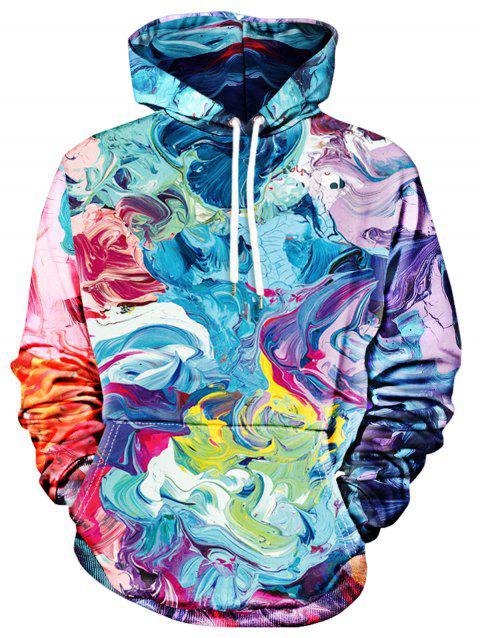 Colorful Paint Drawstring Hoodie - ROYAL BLUE M