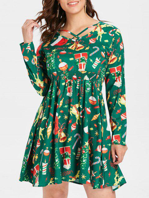 Plus Size Flared Christmas Dress - CLOVER GREEN 5X