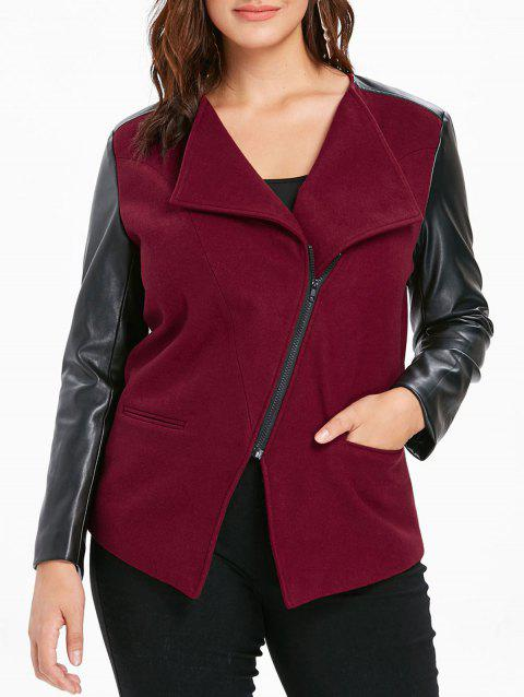 Plus Size Skew Zipper Lapel Jacket - RED WINE 3X