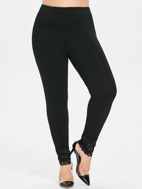 Plus Size High Waist Lace Insert Leggings - BLACK L