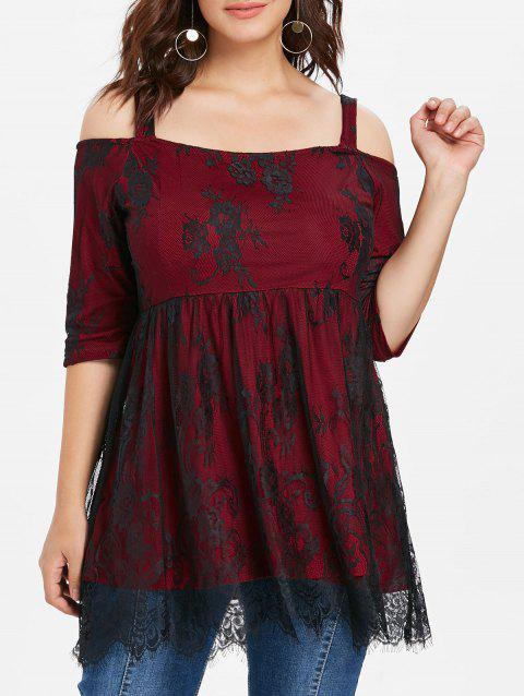 Plus Size Open Shoulder Lace Overlay Top - RED 1X