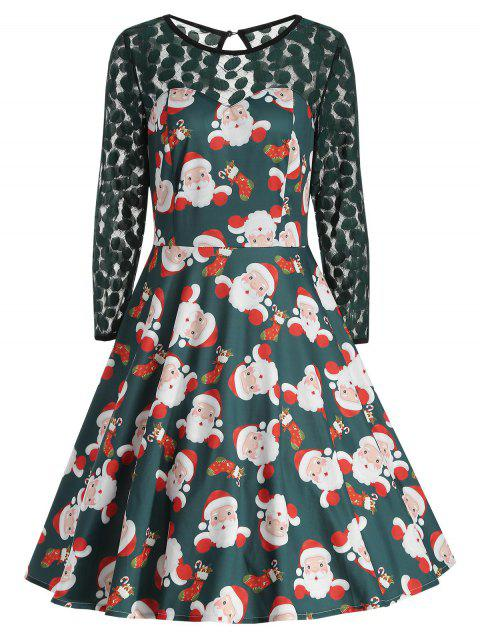 Christmas Santa Claus Print Fit and Flare Dress - MEDIUM SEA GREEN 2XL