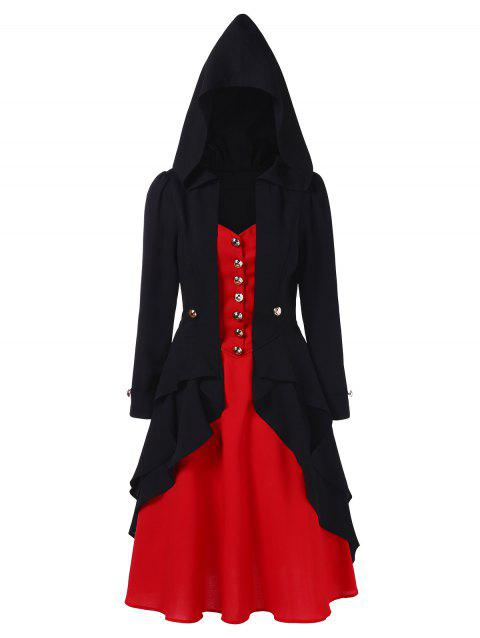 Two Tone Long Sleeve Hooded Gothic Dress - BLACK M