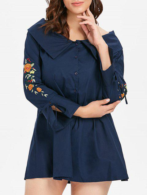 Plus Size Floral Embroidery Tied Sleeve Shirt Dress - NAVY BLUE 3X