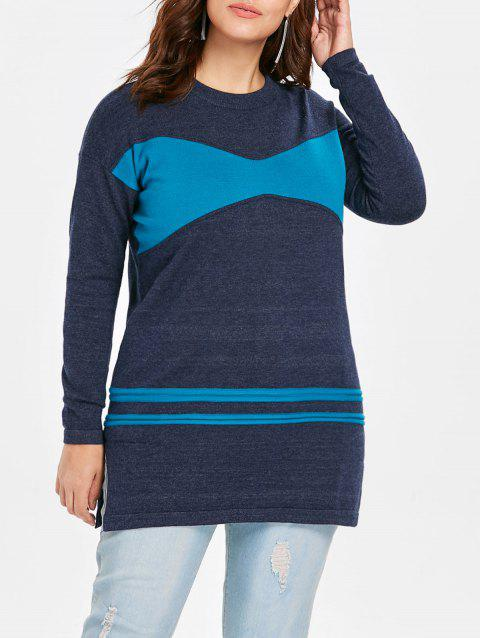 Plus Size Patchwork Long Sweater