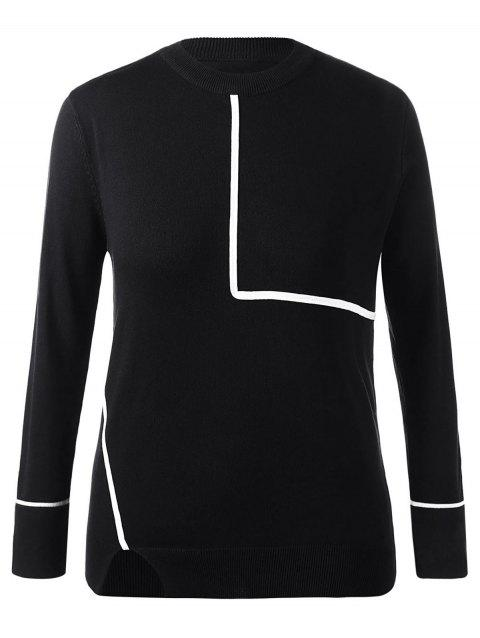 Plus Size Crew Neck Contrast Trim Sweater - BLACK L