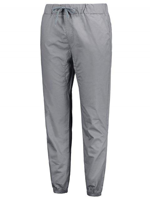 Stretchy Waist Solid Color Jogger Pants - GRAY M