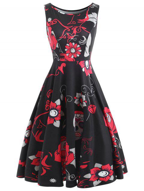 Sugar Skull Print Vintage Dress - BLACK XL