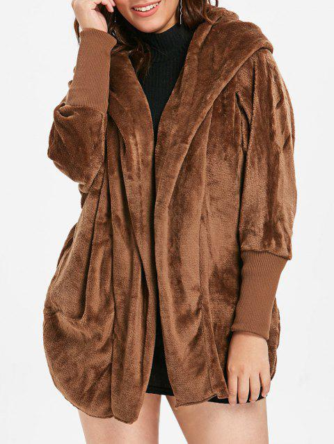 Plus Size Ribbed Panel Sleeve Faux Fur Coat - BROWN ONE SIZE