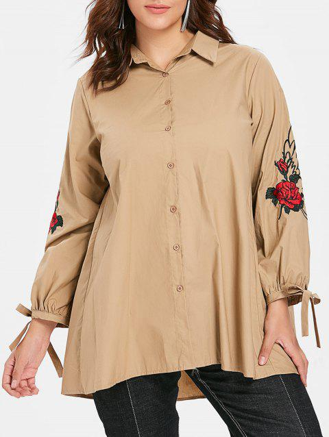 Plus Size Floral Embroidery Sleeve Button Up Shirt - BLANCHED ALMOND 4X