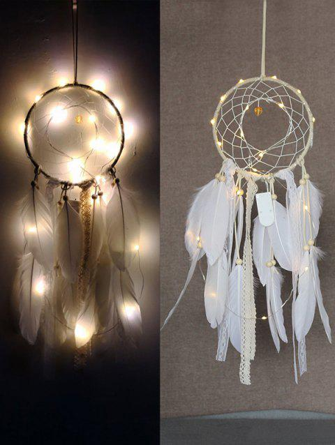 Feathers Dream Catcher with String Light - WHITE
