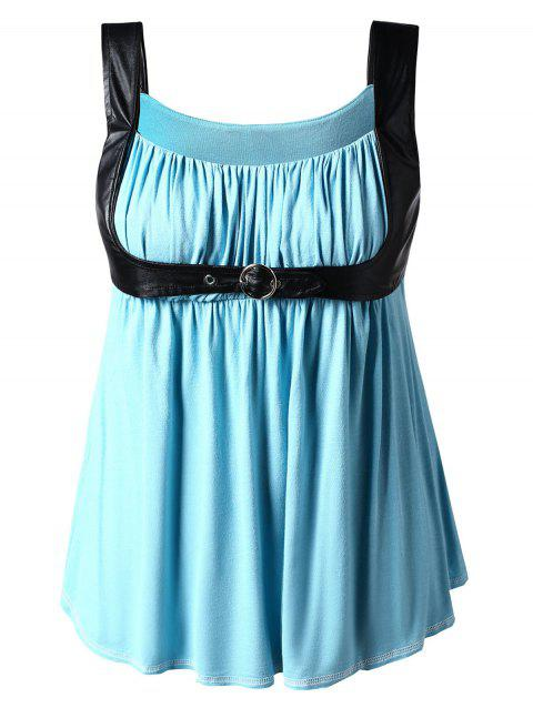Plus Size Square Neck Curved Tank Top - BLUE HOSTA L