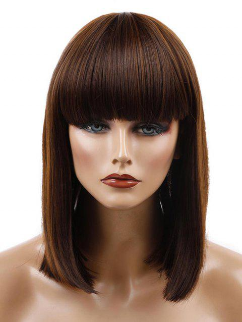 Neat Bang Medium Colormix Straight Bob Synthetic Wig - BROWN