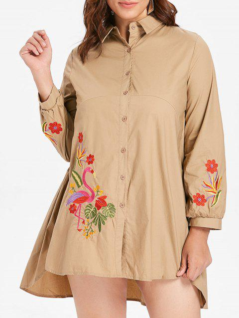 Plus Size Floral Embroidery Shirt Dress - LIGHT KHAKI 3X