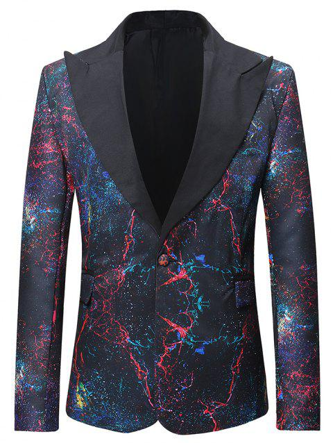 One Button Creative Galaxy Pattern Blazer - multicolor XL