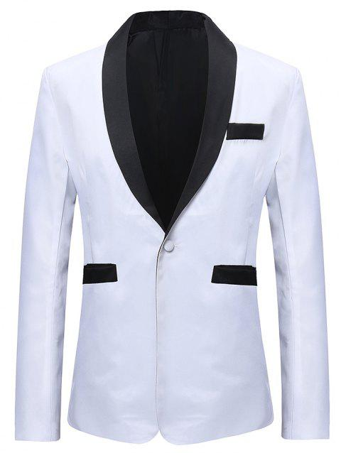 One Button Contract Color Blazer - WHITE 3XL