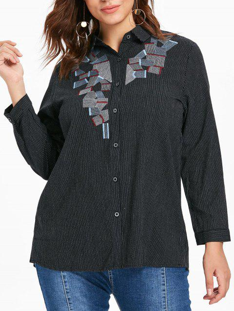 Plus Size Button Up Striped Blouse - BLACK 1X
