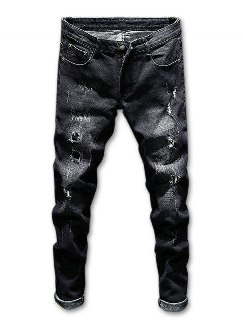 Destroyed Zip Fly Faded Wash Jeans - BLACK 36