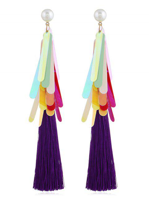 Elegant Sequins Long Tassel Drop Earrings - multicolor