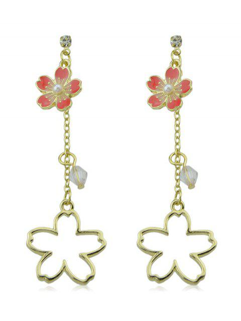 Flower Design Hollow out Hanging Earrings - GOLD