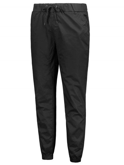 Stretchy Waist Solid Color Jogger Pants - BLACK M
