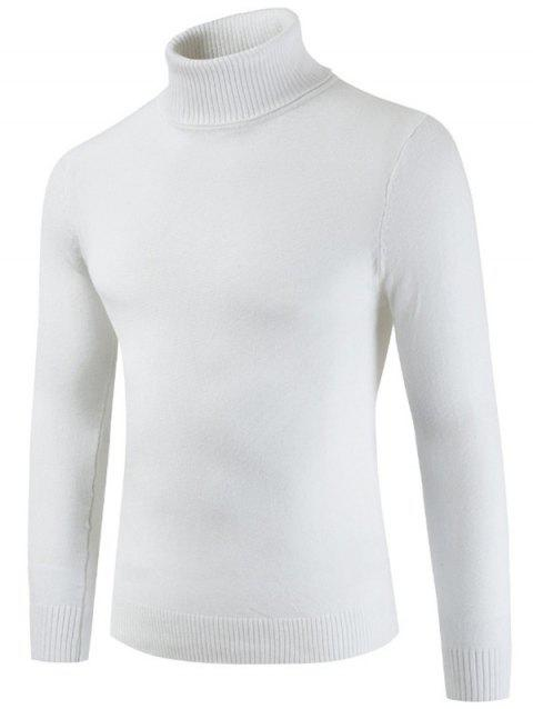 Turtle Neck Casual Slim Sweater - MILK WHITE L
