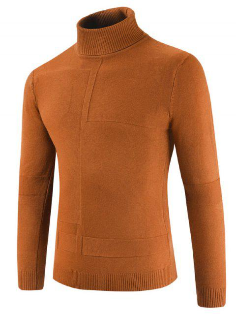 Turtle Collar Geometrical Pattern Sweater - CARAMEL 3XL