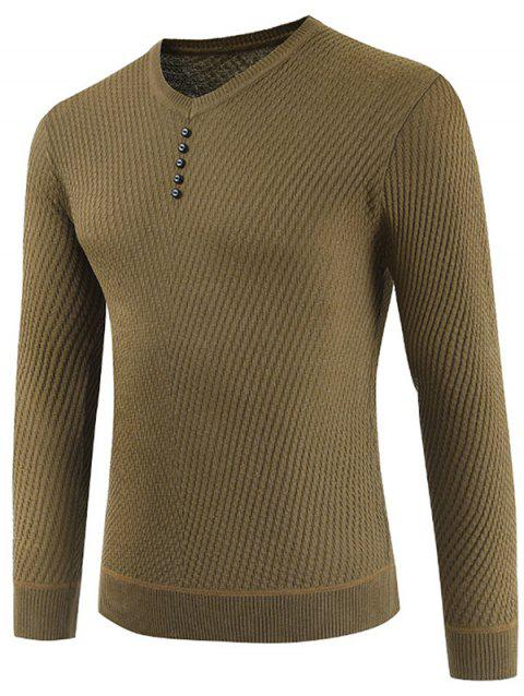 Buttons Decorated Casual Pullover Sweater - AVOCADO GREEN L