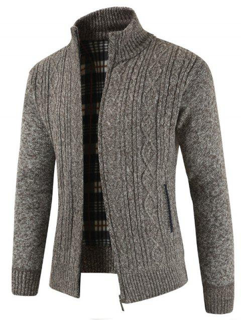 Faux Pocket Casual Zipper Sweater - TAUPE M