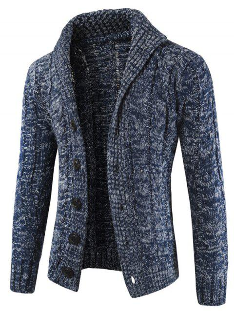 Rundown Lapel Collar Casual Knitted Sweater - MIST BLUE XS