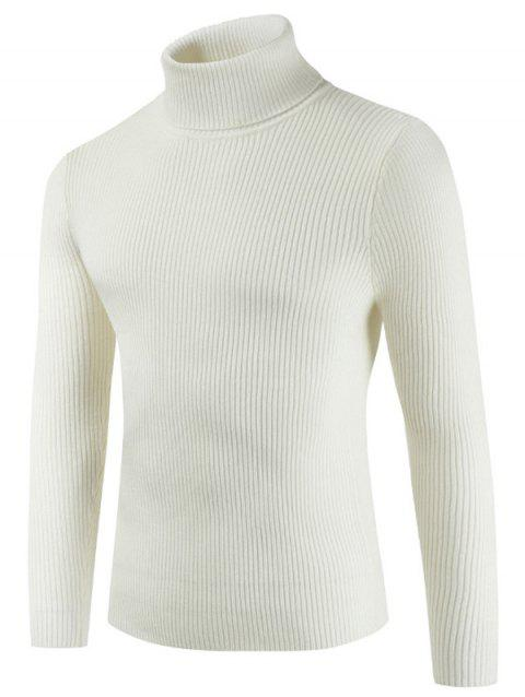 Solid Color Embossment Stripe Sweater - WARM WHITE XS