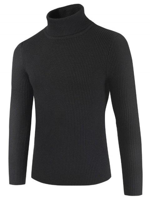 Solid Color Embossment Stripe Sweater - BLACK XS