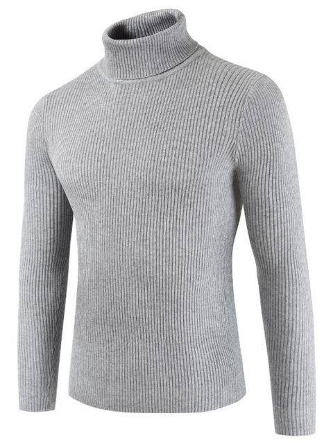 Solid Color Embossment Stripe Sweater - LIGHT GRAY XS