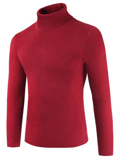 Solid Color Embossment Stripe Sweater - CHESTNUT RED S
