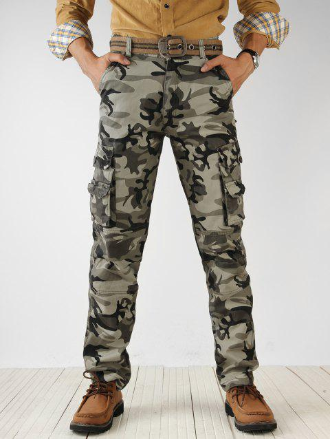 Zip Fly Camouflage Print Cargo Pants - ACU CAMOUFLAGE 36