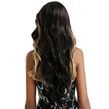 Long Side Parting Ombre Wavy Synthetic Lace Front Party Wig - multicolor C