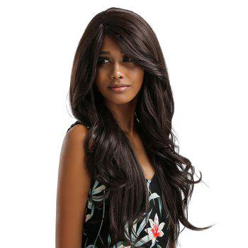 Long Side Bang Feathered Flip Wavy Synthetic Lace Front Wig - multicolor D