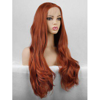 Halloween Christmas Party Long Slightly Wavy Lace Front Synthetic Wig - TIGER ORANGE 26INCH