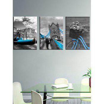 Vintage Building Print Unframed Canvas Paintings - GRAY 3PCS X 24 X 35 INCH( NO FRAME )