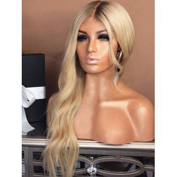 Center Parting Long Natural Wavy Capless Synthetic Wig - multicolor