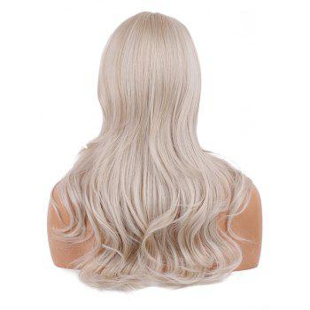 Side Parting Synthetic Long Wavy Wig - WARM WHITE