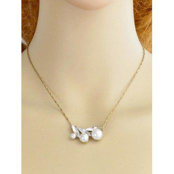 Rhinestone Artificial Pearl Pendant Chain Necklace - GOLD