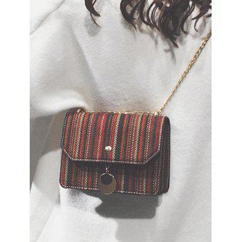 Canvas Striped Chain Crossbody Bag - RED WINE