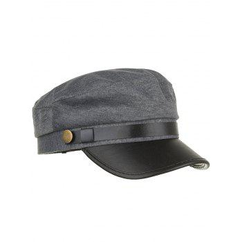 Vintage Solid Color PU Leather Army Hat - GRAY