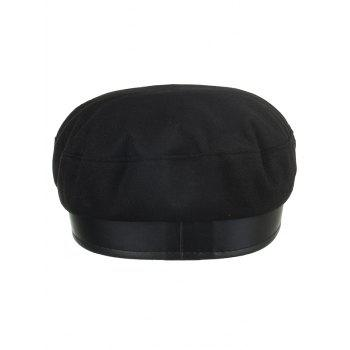 Square Buckle PU Leather Army Hat - BLACK