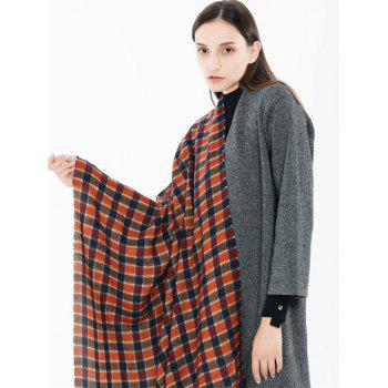 Winter Checked Pattern Fringed Shawl Scarf - RED WINE